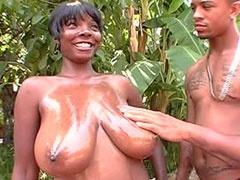 Big boobs ebony babe sucking big black..