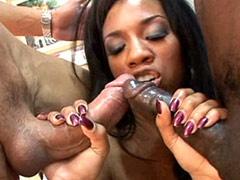 Ebony hooker sucking ebony and white..