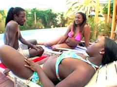 Ebony lesbians gets hard bang in asses..