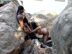 Ebony babe wild anal fucked by big..