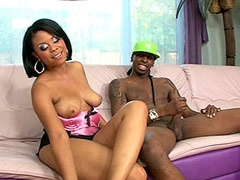 Ebony whore rides big black cock and gets pussy cum