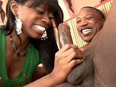 Sexy ebony chick jerking cock and..