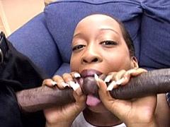 Ebony babe sucks two huge nigga dicks..