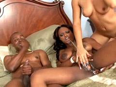 Ebony lesbians pissing each other..