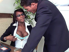 Slutty secretary Lorena gives head to a sexy stranger