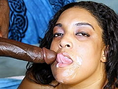 Cheyanne squeezes his cock in between her large tits and sucks on it at the same time. He then..