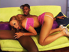 Light skinned ebony teen has her ass grabbed while black cock riding