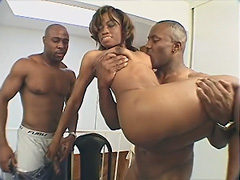 Monique gets undressed by two black men. She then gets her black slit played with and her tits rubbed. The..