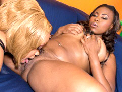 Nubile ebony nymphs using a strap on dick to fuck each..