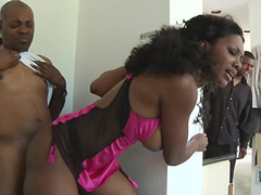 Busty black mature Nyomi Banxxx fucks even when her husband at home