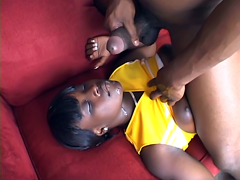 Perky cheerleader baby Hershey gets jet of hot cum on her pretty face