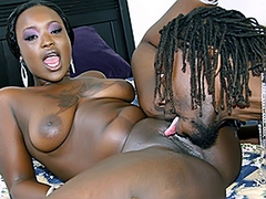 Hershey starts sucking down at his cock, working it deep down her throat and nearly choking on it...