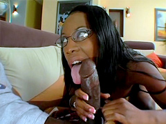 Raunchy ebony Lady Armani can fit a very large cock in her mouth and we find out that she can take..