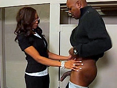 Sexy black lady Destiny Day worked big black dick in locker room