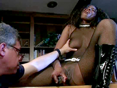 Sexy ebony Lexi in black fishnet clothing prepares her pussy for hard cocks