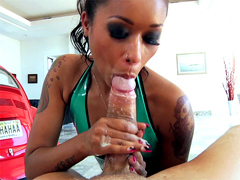 Skin Diamond knows best how to lick, blow, and suck on a mans dick. Proper technique including..
