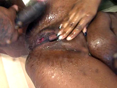 Squirting ebony pussy tube video, starring Roxy Ray