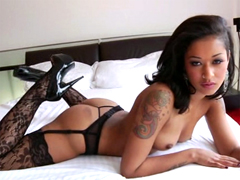 Super charming tattooed ebony Skin Diamond takes large black dick in her pussy