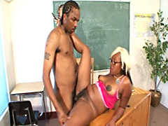 Sweet ebony MILF teacher fucks hung student