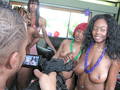 This young black whore gets turned into a fuckfest at pimp party