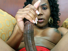Tracey is slender black tgirl with some delicious, swollen chocolate breasts! She also has a long, rock hard..
