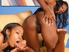 Two ebony hotties licking toes and using fat fucking..