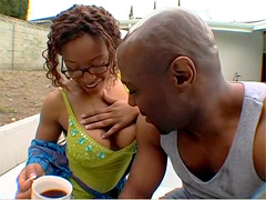 Big ebony tits its great! Watch how busty Ayana Angel getting pussy drilled outdoor!