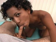 Short haired ebony nymph sucking cock and getting fucked