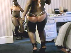 Black BBW dancing and shaking huge ass in front of mirror
