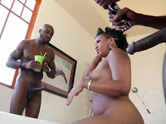 Big ebony woman Sydnee Capri begins the scene spreading her legs for two chaps. One chap sticks his cock..
