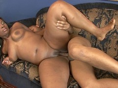Ebony took a huge cock deep down her throat and in her little honey pot. She has this giant butt..