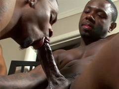 Handsome black man cums after ass fucking his horny friend