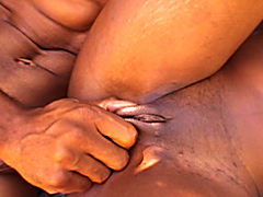 Coffee Brown nailed from behind as she sucks on a massive dark meat rod