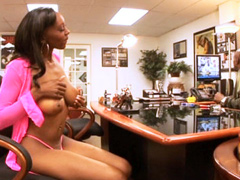 Ebony slut banged by a huge black cock and covered in cum