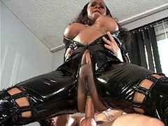 Ebony lesbians in black leather outfit fucked in groupsex