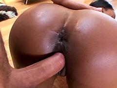 Busty ebony chick interracial hardcore fucked on floor