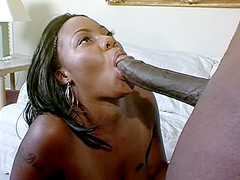 Perfect ebony babe in black stockings gets huge long dick in hairy pussy