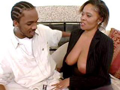 Big titted ebony lady feeling huge black meat in her hairy pussy
