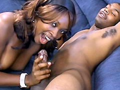 Fine ebony chick gets her black twat drilled by hard cock