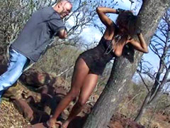 Banded black chick getting spanking and riding turnbuckle