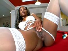 Big ass ebony model Kitty pussy drilled on sofa