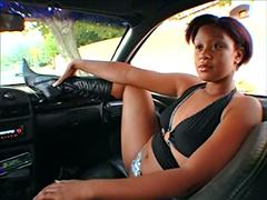 Kinky ebony ex wife flashing her nice pussy