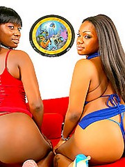 Hot mocca with an increment of her beautiful round ass gf succeed in their ebony boxes fucked hard in this 3some fuckdate