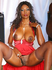 Stokings surface great on this ebony milf with obese tits and exasperation