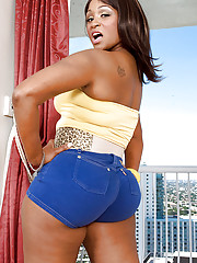 Black bbw unspecific in parsimonious shorts Kara Kane brings out nice tits and to booty