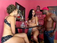 Sexy black sluts Mone Divine and Ice La Fox tempts strong dude for hardcore sex