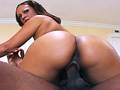 Mya leans forward, to take his hard cock into her warm wet mouth and slide it all the way down her..