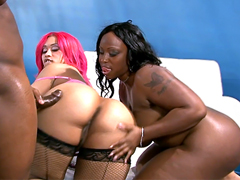 Busty black moms Pinky and Skyy Black in hardcore sex video