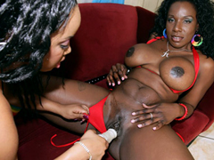 These two black chicks have very juicy bodies! It's too bad that they're all about the..