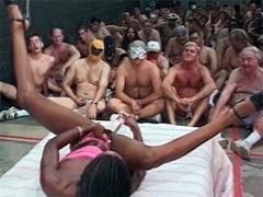 Mocha Delite masturbating her pussy in the presence of 100 mans